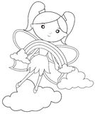 The rainbow and the fairy coloring page stock illustration