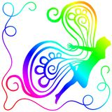 Rainbow Fairy Silhouette. Woman fairy silhouette flying fantasy. Colours of the rainbow Royalty Free Stock Photo