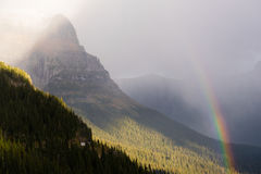 Rainbow Fall Color Rocky Mountains Glacier National Park Montana Stock Photos