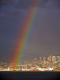 Rainbow falling in front of North Vancouver Stock Image