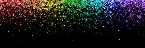 Rainbow falling particles, wide banner. Vector. Illustration Royalty Free Stock Image