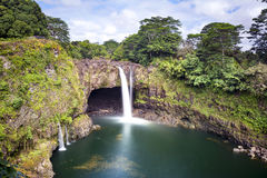Rainbow falls in Hawaii Royalty Free Stock Photos