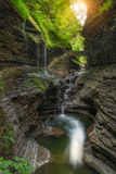 Rainbow Falls Sunrise at Watkins Glen Royalty Free Stock Photo