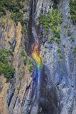 Rainbow Falls. Water fall with rainbow reflection near seward Stock Images