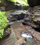 Rainbow falls Waterfall Watkins Glen State Park Stock Photo