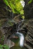 Rainbow Falls at Watkins Glen State Park. Beautiful bridge and waterfall at Watkins Glen, New York Stock Photo