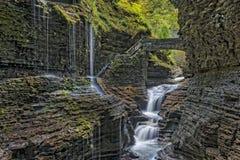 Rainbow Falls At Watkins Glen State Park Stock Photo