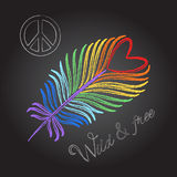 Rainbow feather and peace sign Colorful chalk drawing texture on black background Royalty Free Stock Images