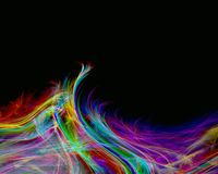 Rainbow feathers on  black background. Abstraction illustration Royalty Free Stock Photo