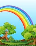 Rainbow and field Stock Image