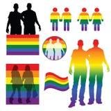 Rainbow figures holding hand illustration. Rainbow figures holding hand art illustration Stock Photos