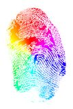 Rainbow Finger Print. Rainbow Hued Splotchy Finger Print Royalty Free Stock Photos