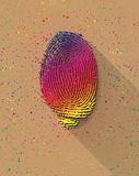 Rainbow finger print. On colorful pigments background Stock Image
