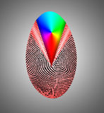 Rainbow Fingerprint. Fingerprint peeling back to reveal Rainbow Stock Photo