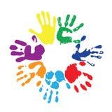 Rainbow fingerprints. EPS 10 vector multicolored  fingerprints with the colors of rainbow Stock Photo