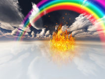 Rainbow and fire. In surreal space Royalty Free Stock Photos