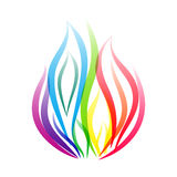 Rainbow fire flame symbol. Vector design for any decoration. Creative concept Royalty Free Stock Photography