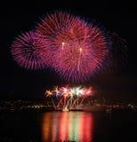 Rainbow Fireworks. At Seattle's Lake Union Stock Photo