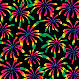 Rainbow fireworks on black. Background pattern Stock Photo