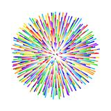 Rainbow fireworks on white background Stock Images