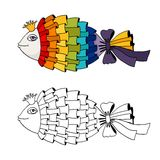 Rainbow fish coloring Royalty Free Stock Image