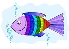 Rainbow fish, covered with symbols. Abstract pattern in vector Stock Image
