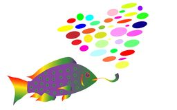 The rainbow fish in rasta style smokes a pipe and exhales smoke in the form of a heart from multi-colored balls. Vector illustration. Isolated on white Royalty Free Stock Photo
