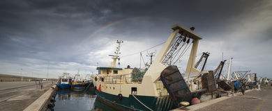 The rainbow in the fishing harbor of San Benedetto del Tronto Stock Photography