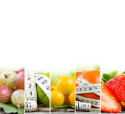 Rainbow Fitness Mix. Photo of colorful fruit and vegetable mix with white measuring tape and white space; concept of fitness stock photos