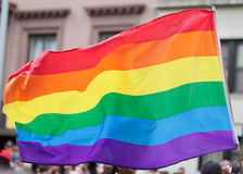 Rainbow Flag. On the Pride Parade royalty free stock photo