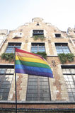 Rainbow flag. On building in Brussels royalty free stock images