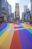 Rainbow flag at AIDS rally in Times Square Stock Photos