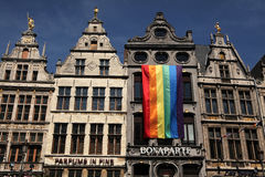 Rainbow flag in Antwerp, Belgium. Stock Photos