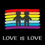 Rainbow flag backdrop. LGBT gay symbol. Love is love. Two boy man marriage sign. Colorful line set. Flat design. Black background. Vector illustration stock illustration