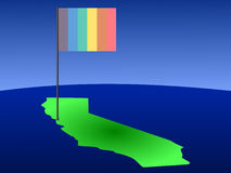 Rainbow flag on California map Royalty Free Stock Images