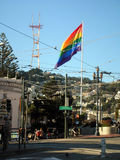 Rainbow flag, gay pride, Castro San Francisco. World famous gay district in USA Royalty Free Stock Photo