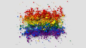 The rainbow flag gradually appearing from particles with alpha channel. stock illustration