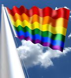 The rainbow flag, commonly known as the gay pride flag or LGBT pride flag, is a symbol of lesbian, gay, bisexual and transgender. LGBT pride and LGBT social Stock Photography