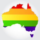 Rainbow flag in contour of Australia Royalty Free Stock Photo