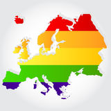 Rainbow flag in contour of Europe. Lgbt flag  in contour of Europe with light grey background Royalty Free Stock Images