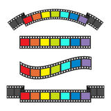 Rainbow flag Film strip frame set. Different shape ribbon. Design element. White background. LGBT Gay movie cinema sign symbol. Is. Olated. Flat. Vector Royalty Free Stock Images