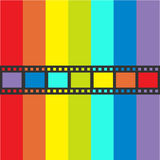 Rainbow flag Film strip frame. Straight shape ribbon. Design element. White background. LGBT Gay movie cinema sign symbol. Flat . Rainbow flag Film strip frame Royalty Free Stock Image