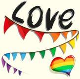 Rainbow flag and heart Royalty Free Stock Photo