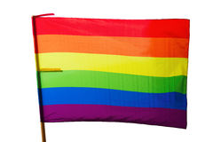 Rainbow flag. Isolated over white Royalty Free Stock Photo