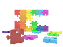 Rainbow flag jigsaw. A wall of jigsaw pieces making up the LGBT rainbow flag Royalty Free Stock Photos