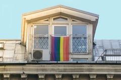Rainbow flag. LGBT - lesbian, gay and transgender community flag on window. royalty free stock images