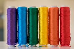 Rainbow flag. LGBT symbol. Rainbow flag. LGBT symbol made with colorful spools of thread Stock Photography