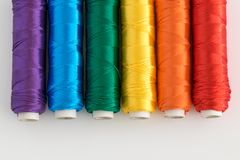 Rainbow flag. LGTB symbol. Rainbow flag. LGTB symbol made with colorful spools of thread Stock Photography