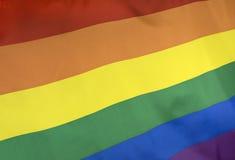 Rainbow Flag real fabric Stock Photos