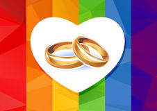 Rainbow flag and rings Royalty Free Stock Images